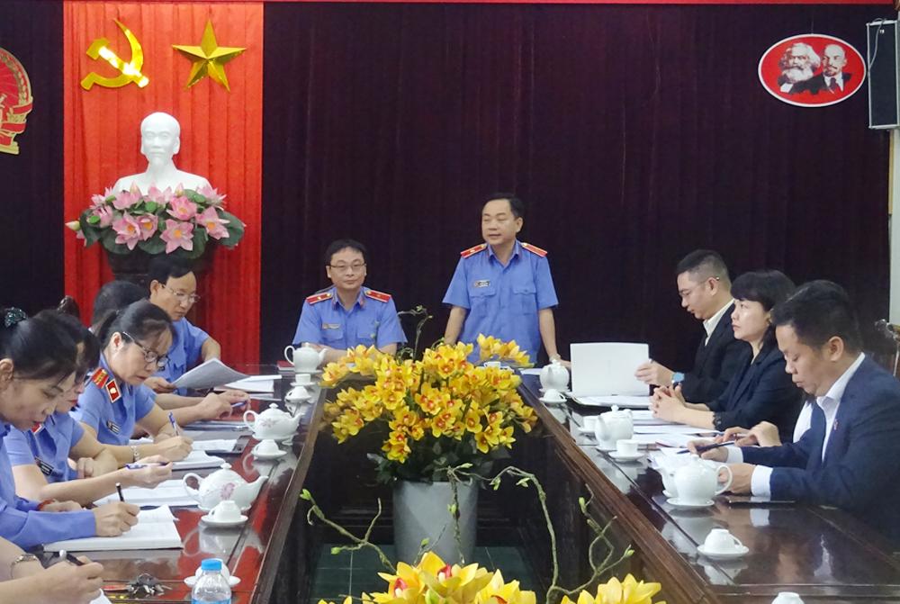 Ban chỉ đạo công tác tuyên truyền ngành Kiểm sát làm việc với VKS tỉnh Yên Bái về thực hiện công tác tuyên truyền