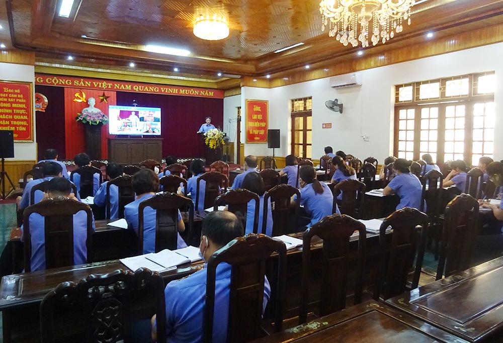 VKS tỉnh tổ chức Hội nghị trực tuyến sơ kết công tác kiểm sát 6 tháng đầu năm 2021 ngành Kiểm sát Yên Bái