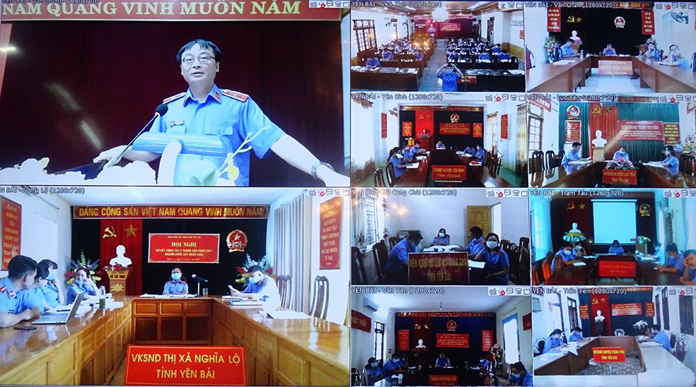 Phòng 1 và phòng 2 VKSND tỉnh Yên Bái đã phối hợp tổ chức 02 hội nghị trực tuyến giữa hai cấp Kiểm sát trong tỉnh Yên Bái