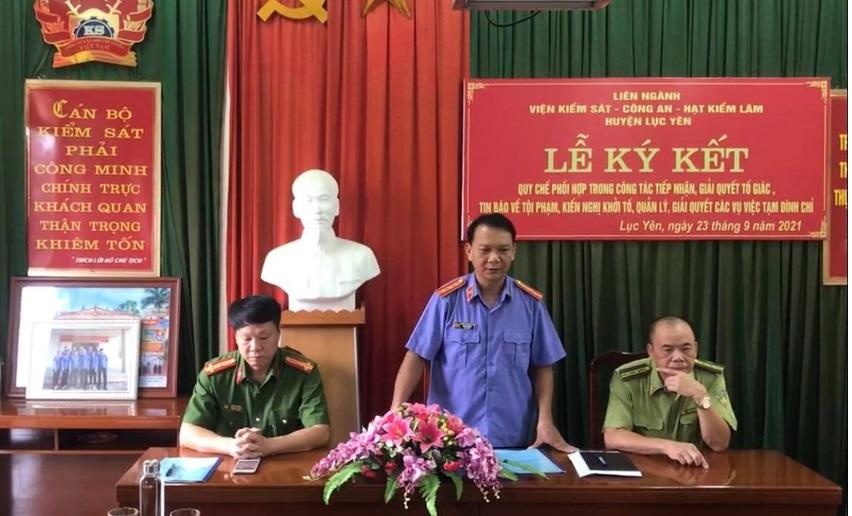 VKSND huyện Lục Yên tổ chức ký Quy chế phối hợp trong công tác tiếp nhận, giải quyết tố giác, tin báo về tội phạm, kiến nghị khởi tố, quản lý, giải quyết các vụ việc tạm đình chỉ